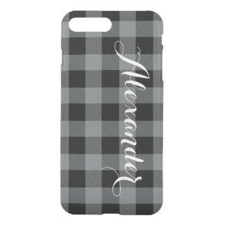 木炭Blkのバッファローの点検の格子縞の名前のモノグラムNL iPhone 8 Plus/7 Plus ケース
