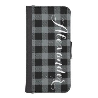 木炭Blkのバッファローの点検の格子縞の名前のモノグラムNL iPhoneSE/5/5sウォレットケース