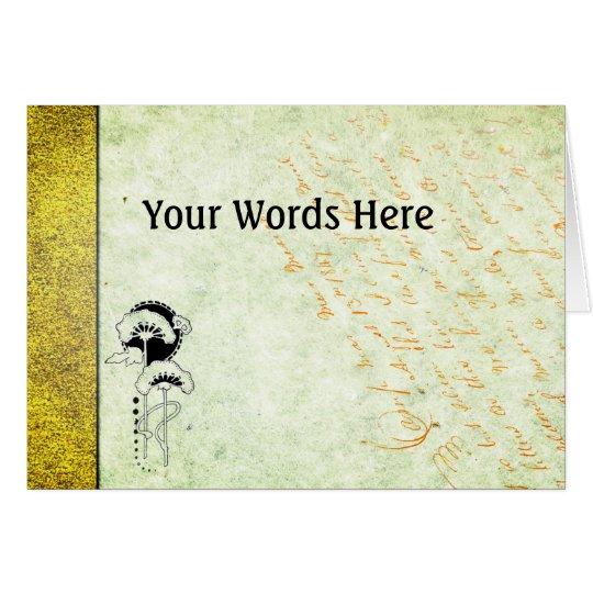 木版画が付いている手すき紙のあなたの単語 カード