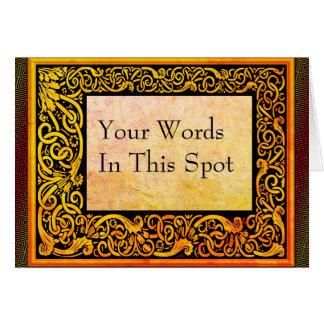 木版画とのレトロの植物のあなたの単語 カード
