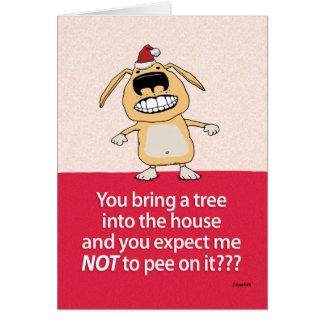 木犬のクリスマスカードのおもしろいな小便 カード
