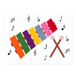 木琴の多彩の楽器の漫画 ポストカード