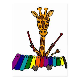 木琴の漫画を遊んでいるおもしろいなキリン ポストカード