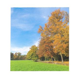 木空および草原とのカラフルな秋の景色 ノートパッド