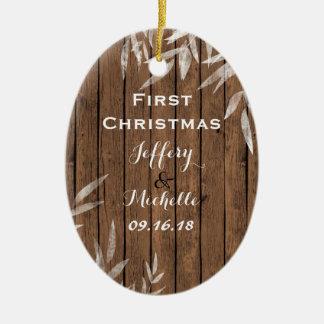木第1クリスマスの名前入りで素朴なヤナギ セラミックオーナメント