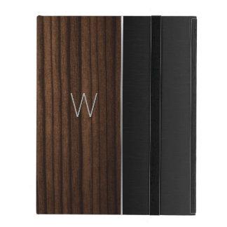 木製および金属一見のモノグラムのなiPadの場合 iPad ケース