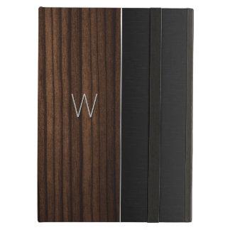 木製および金属一見のモノグラムのなiPadの空気箱 iPad Airケース