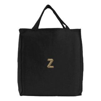 木製のアルファベットZ 刺繍入りトートバッグ