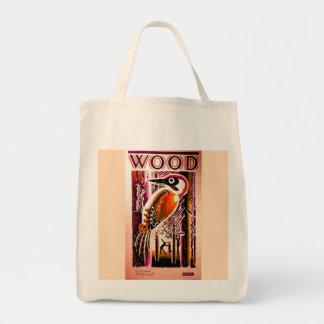 木製のキツツキのバッグ トートバッグ