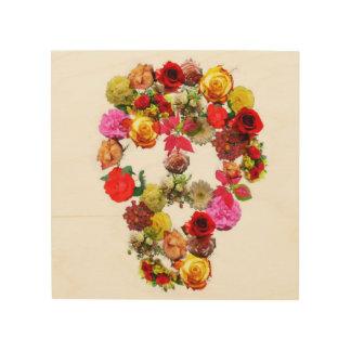 木製のキャンバスのスカルの花 ウッドウォールアート