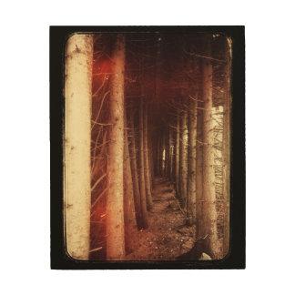木製のキャンバスの不気味で神秘的な森林 ウッドウォールアート