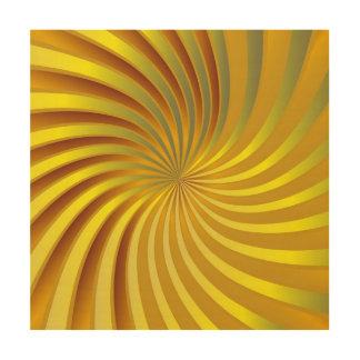木製のキャンバスの金ゴールドの螺線形渦 ウッドウォールアート