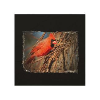 木製のキャンバスの(鳥)ショウジョウコウカンチョウ ウッドウォールアート