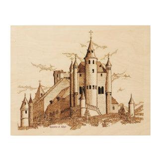 木製のキャンバス- Alcazar -城-セピア色 ウッドウォールアート