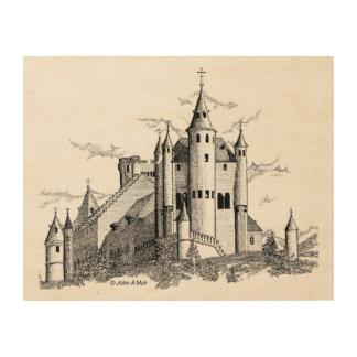 木製のキャンバス- Alcazar -城-黒 ウッドウォールアート