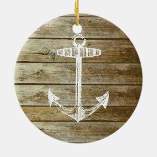 木製のグラフィックの航海のないかり セラミックオーナメント