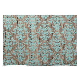 木製のダマスク織パターンヴィンテージの素朴でシックなシャンデリア ランチョンマット