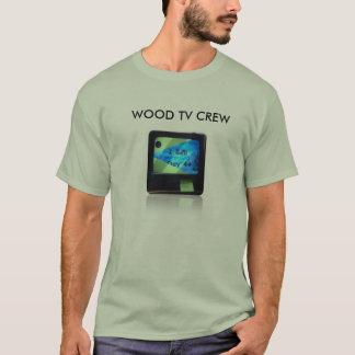 木製のテレビの取材班のワイシャツ Tシャツ