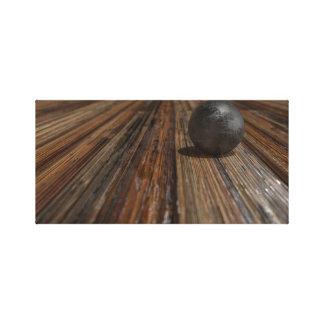 木製のテーブルの球 キャンバスプリント