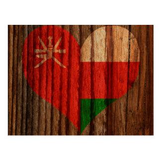 木製のテーマのオマーンの旗のハート ポストカード