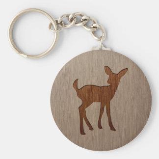 木製のデザインで刻まれる子鹿のシルエット キーホルダー
