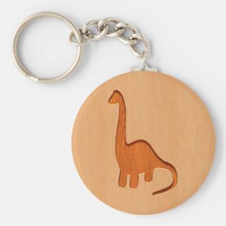 木製のデザインで刻まれる恐竜のシルエット キーホルダー