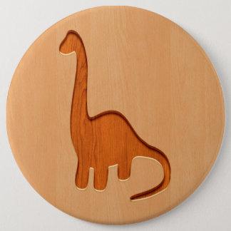 木製のデザインで刻まれる恐竜のシルエット 15.2CM 丸型バッジ