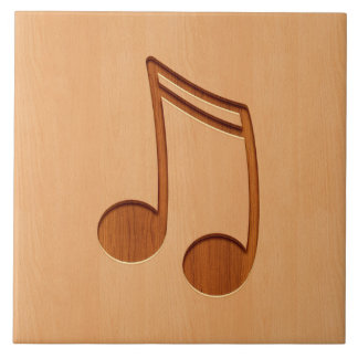 木製のデザインで刻まれる音楽ノート タイル