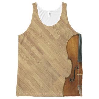 木製のパネルの効果のStradivariのバイオリン オールオーバープリントタンクトップ