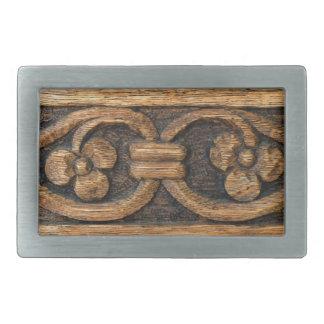 木製のパネルの彫刻 長方形ベルトバックル
