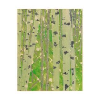 木製のパネルの樺の木の森林 ウッドウォールアート
