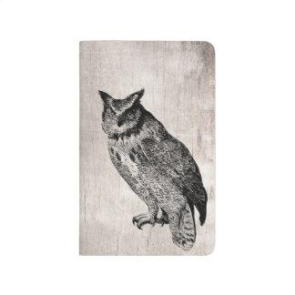 木製のフクロウの鳥のポケットジャーナル ポケットジャーナル