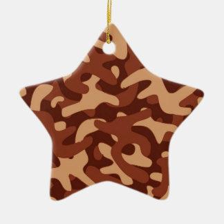 >木製のブラウン色のカムフラージュパターン 陶器製星型オーナメント