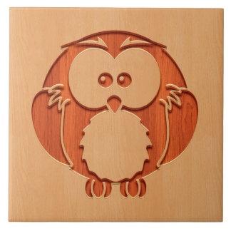 木製の効果で刻まれるかわいいフクロウ タイル