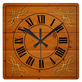 木製の効果はローマ数字の時計に直面しました スクエア壁時計
