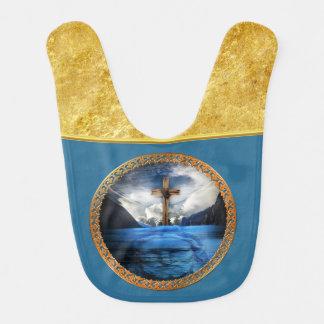 木製の十字および金ゴールドホイルが付いている海のイエス・キリスト ベビービブ