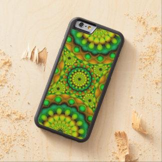 木製の場合のiPhone 6曼荼羅のサイケデリックな視野 CarvedメープルiPhone 6バンパーケース