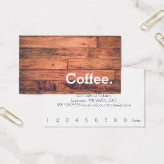 木製の床のシンプルなロイヤリティのコーヒーパンチカード 名刺