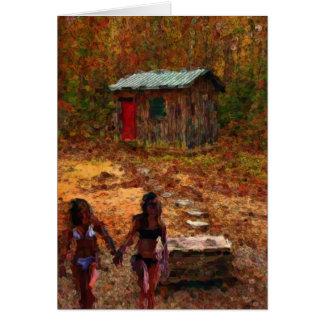 木製の掘っ建て小屋および女の子 カード