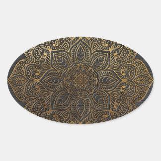 木製の曼荼羅金ゴールド 楕円形シール