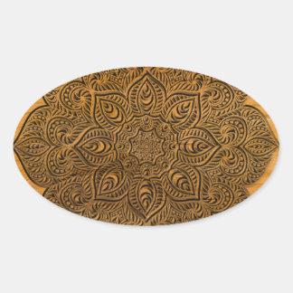 木製の曼荼羅 楕円形シール