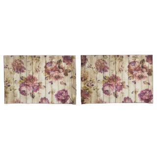 木製の枕カバーのヴィンテージのピンクのバラ 枕カバー
