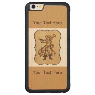 木製の焼跡の海賊木製の穀物のAppleのiPhone 6/6sと CarvedメープルiPhone 6 Plusバンパーケース