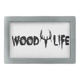 木製の生命 長方形ベルトバックル