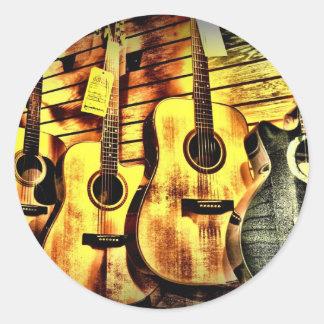 木製の穀物のアコースティックギター ラウンドシール