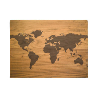 木製の穀物の世界地図 ドアマット