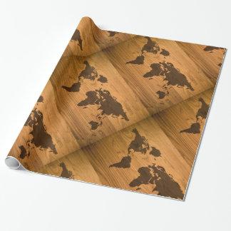 木製の穀物の世界地図 ラッピングペーパー