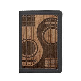 木製の穀物の効果のアコースティックギターの陰陽 ナイロン三つ折りウォレット