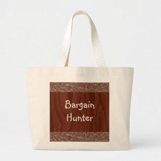 木製の穀物の抽象芸術 ラージトートバッグ