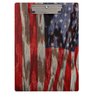 木製の穀物の米国旗 クリップボード